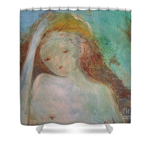 Shower Curtain featuring the painting Woman Of Sorrows by Laurie Lundquist