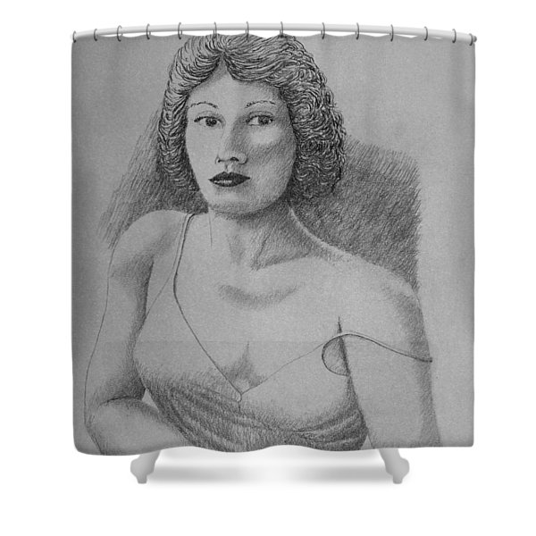 Woman With Strap Off Shoulder Shower Curtain