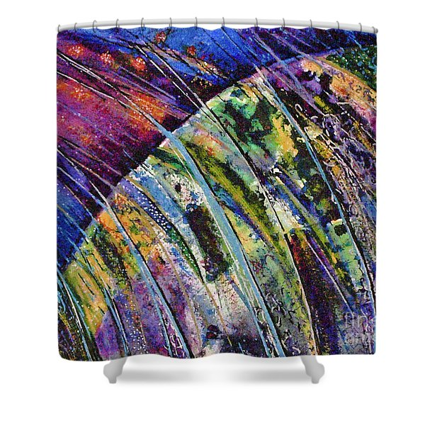 World In A Spin Shower Curtain