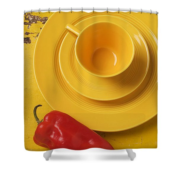 Yellow Cup And Plate Shower Curtain