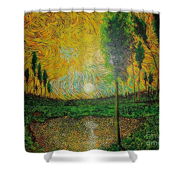 Yellow Pond Shower Curtain