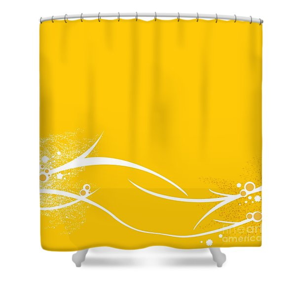 Yellow Twigs Shower Curtain