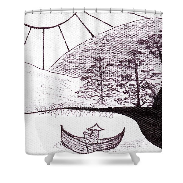 Zen Sumi Asian Lake Fisherman Black Ink On White Canvas Shower Curtain