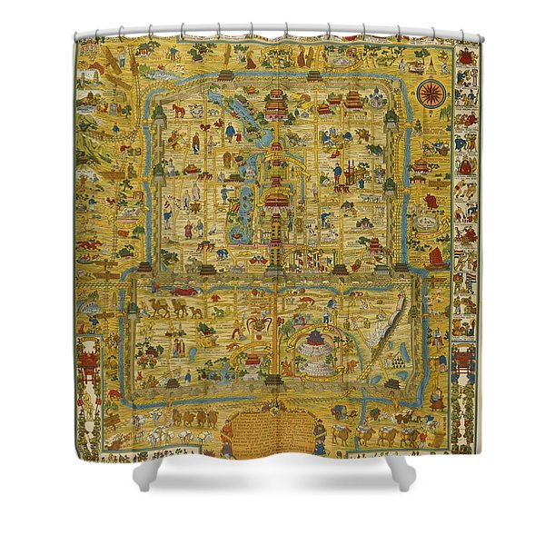 A Map And History Of Peiping Shower Curtain
