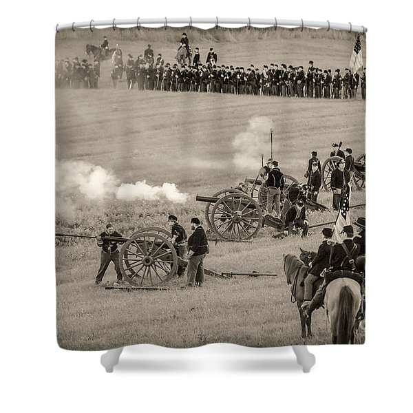 Gettysburg Union Artillery And Infantry 7439s Shower Curtain