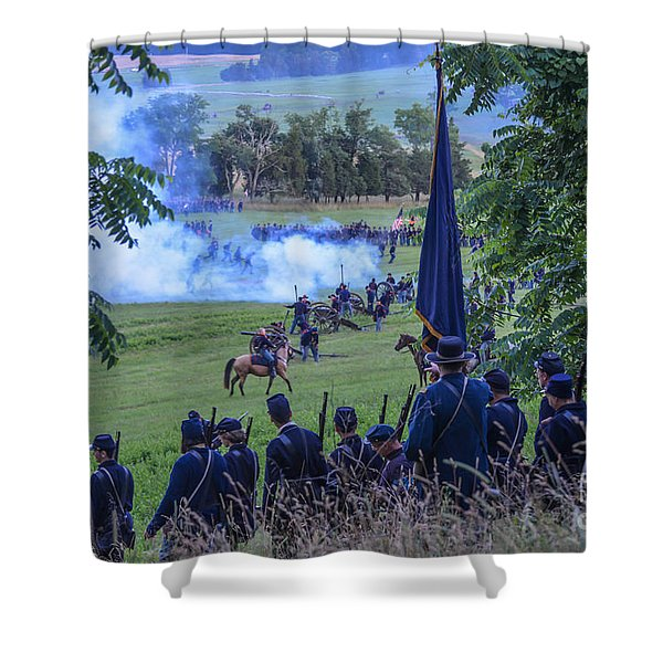 Gettysburg Union Artillery And Infantry 7457c Shower Curtain