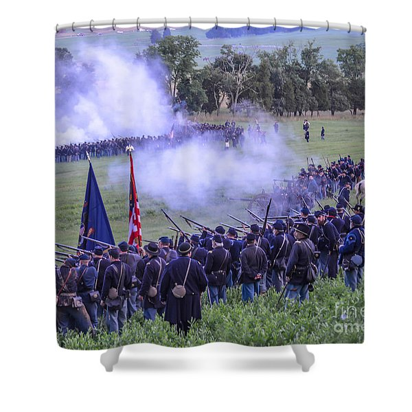 Gettysburg Union Artillery And Infantry 7496c Shower Curtain