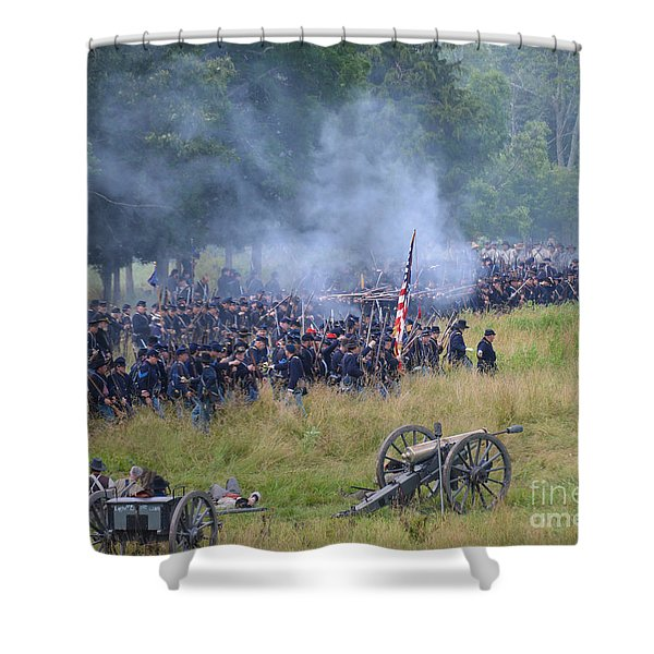 Gettysburg Union Artillery And Infantry 8456c Shower Curtain