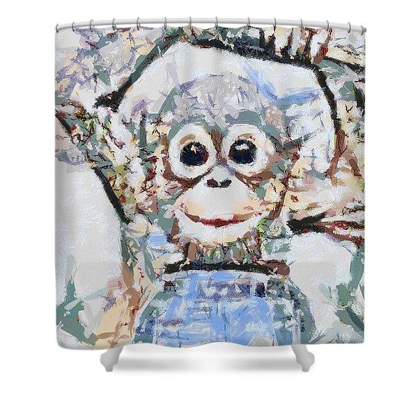 Monkey Rainbow Splattered Fragmented Blue Shower Curtain