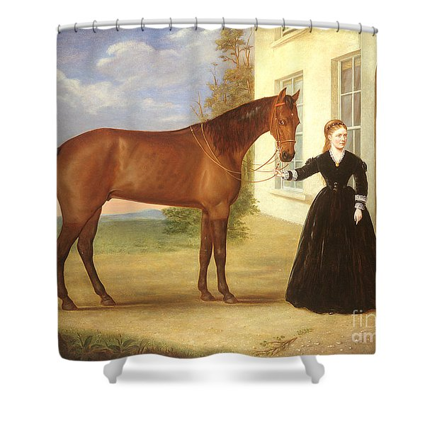 Portrait Of A Lady With Her Horse Shower Curtain