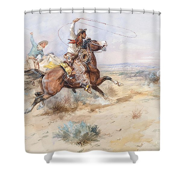 Roping A White Wolf  Shower Curtain