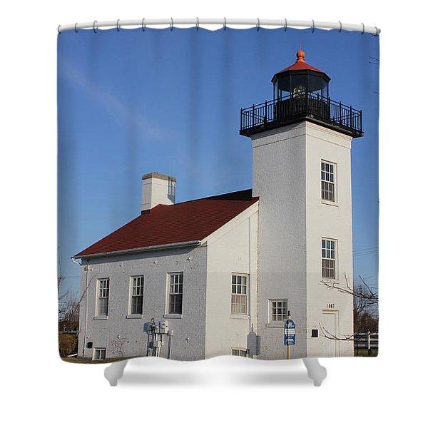 Sand Point Lighthouse Escanaba Shower Curtain