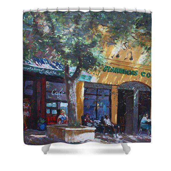 Starbucks Hangout Shower Curtain by Ylli Haruni