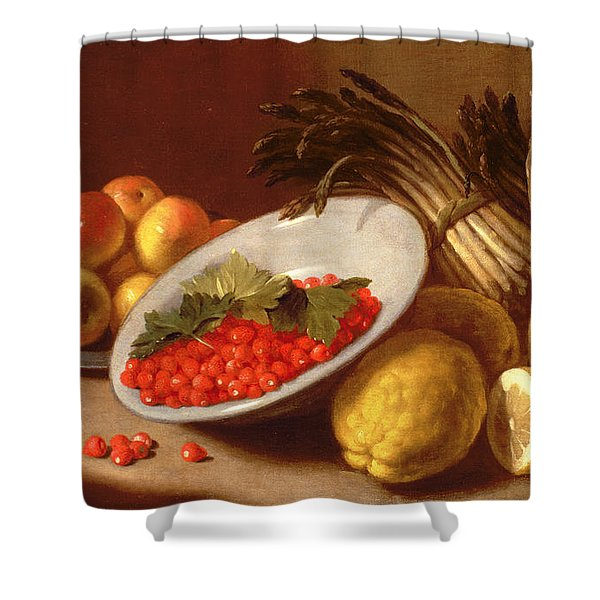 Still Life Of Raspberries Lemons And Asparagus  Shower Curtain