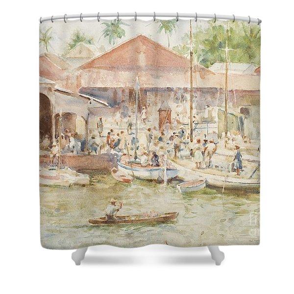 The Market Belize British Honduras Shower Curtain