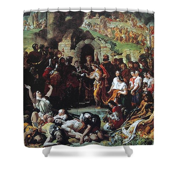 The Marriage Of Strongbow And Aoife Shower Curtain