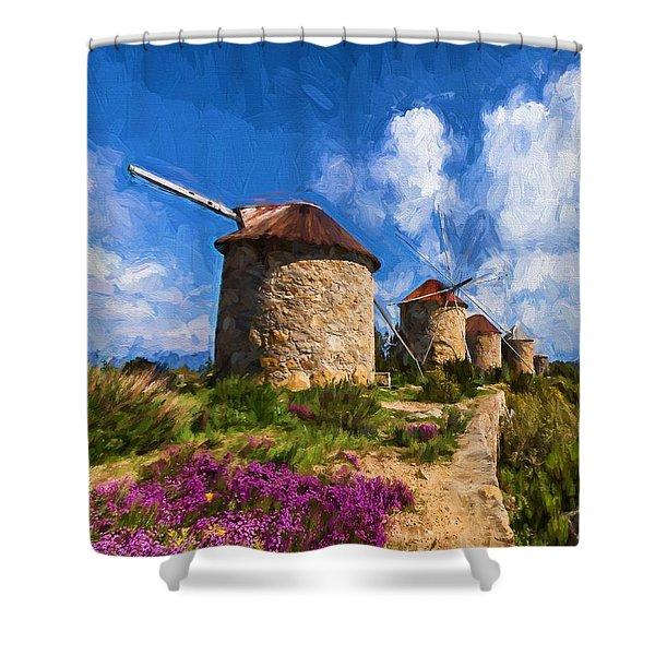 Windmills Of Portugal Shower Curtain