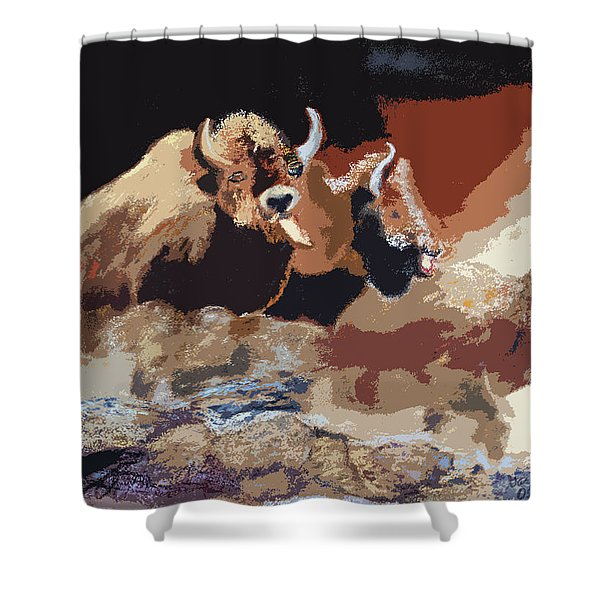010316 Ancient Buffalo Hunt Shower Curtain