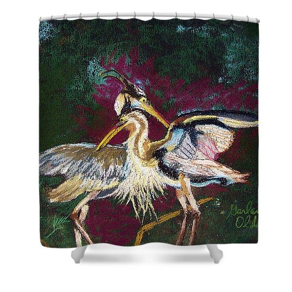 021916 Blue Heron's Dance Shower Curtain