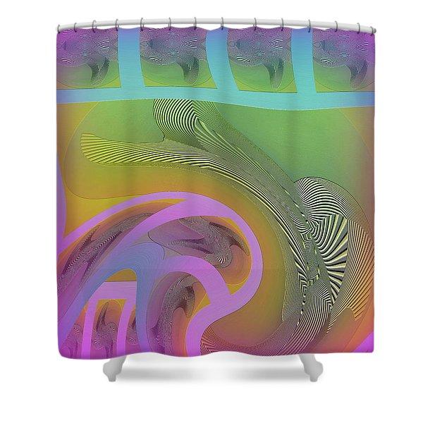 Shower Curtain featuring the digital art #061220173 by Visual Artist Frank Bonilla