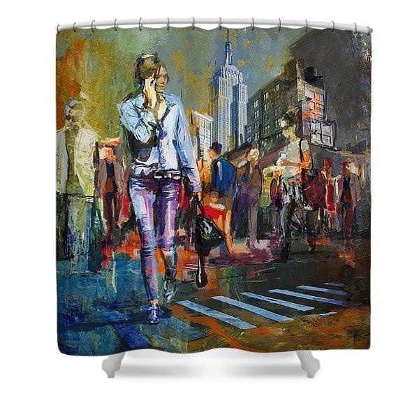 066 Ny Manhattan Street View New York Shower Curtain
