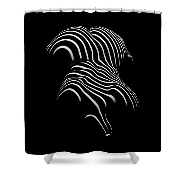 0721-ar Black And White Fine Art Nude Abstract Big Woman Bbw Shower Curtain