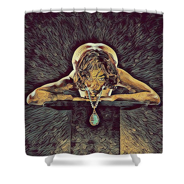 0756s-zac Nude Woman With Amulet On Tall Pedestal  Shower Curtain