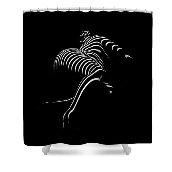 0773-ar Striped Zebra Woman Side View Abstract Black And White Photograph By Chris Maher Shower Curtain