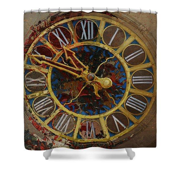 082 Tiffany Clock Shower Curtain