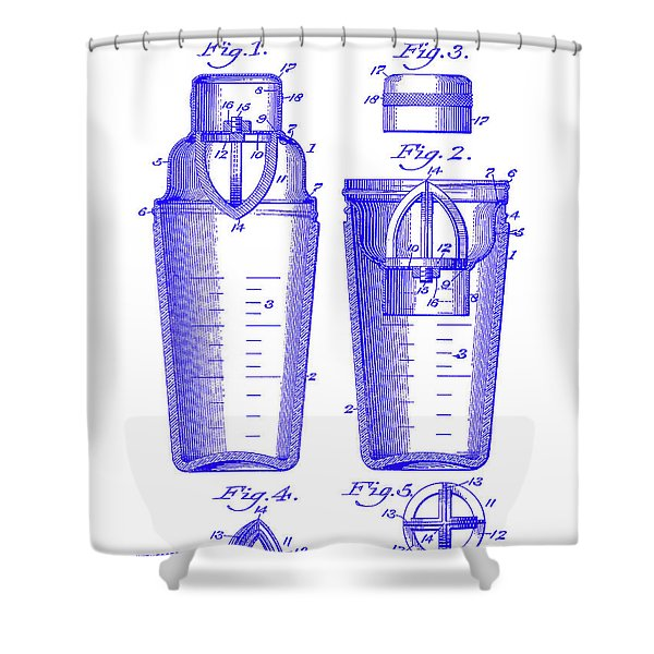 1913 Cocktail Shaker Patent Blueprint Shower Curtain