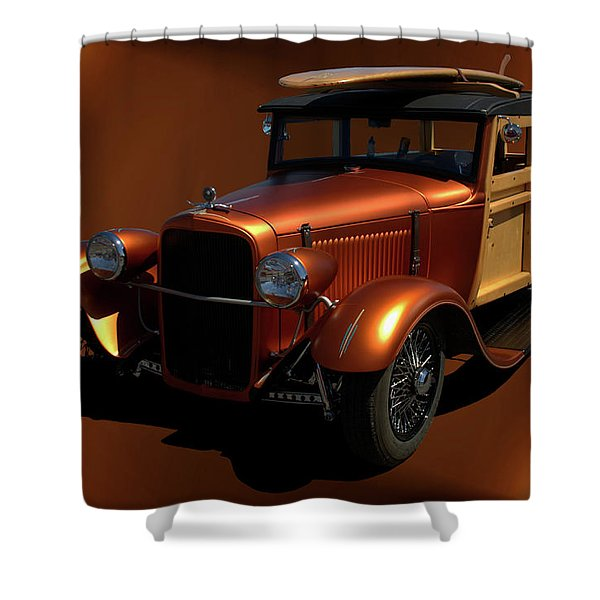 1929 Ford Model A Woody Shower Curtain