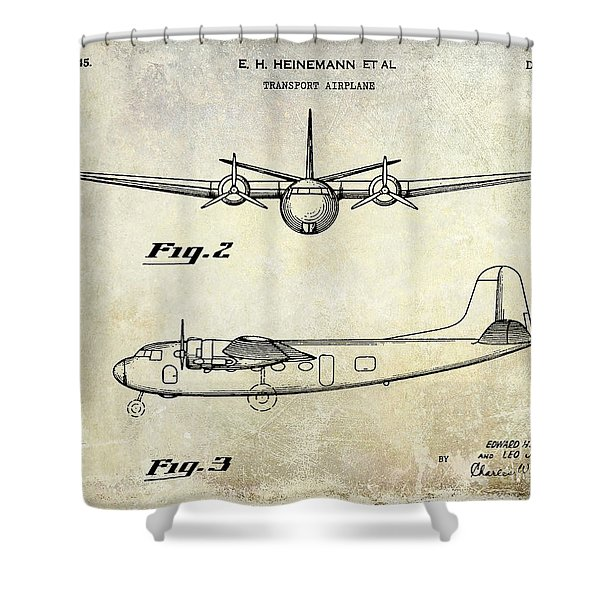 1945 Transport Airplane Patent  Shower Curtain