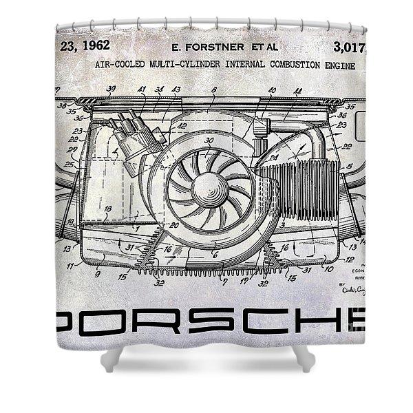 1962 Porsche Engine Patent Shower Curtain