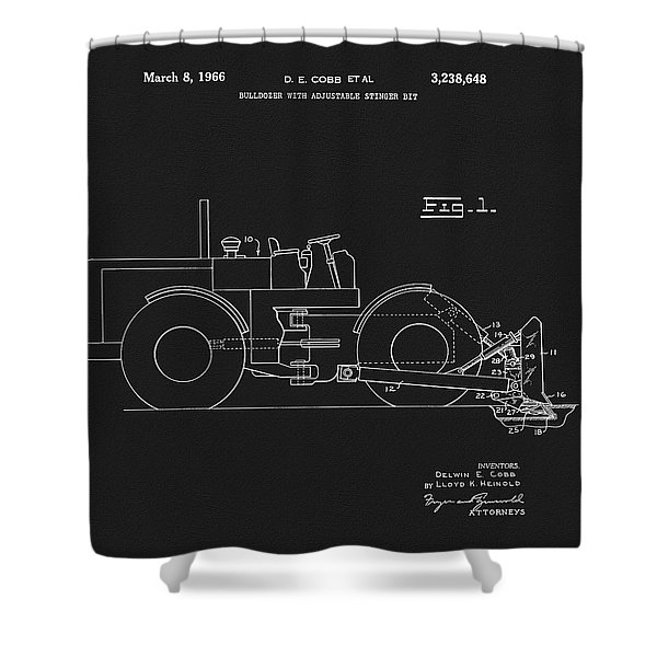 1966 Bulldozer Patent Shower Curtain