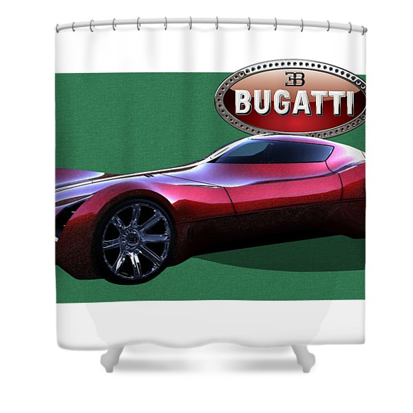 2025 Bugatti Aerolithe Concept With 3 D Badge  Shower Curtain