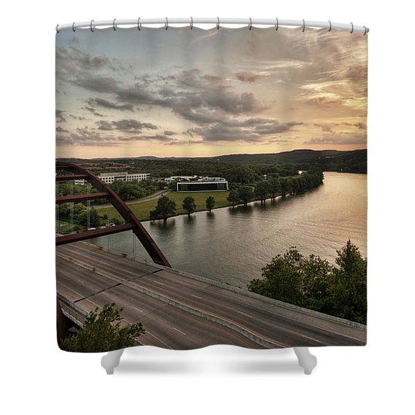 360 Bridge Sunset Shower Curtain