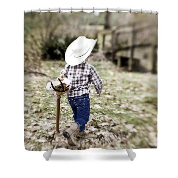 A Boy And His Horse Shower Curtain by Scott Pellegrin