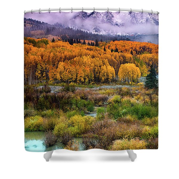 Shower Curtain featuring the photograph A Fall Snow At Sunrise by John De Bord