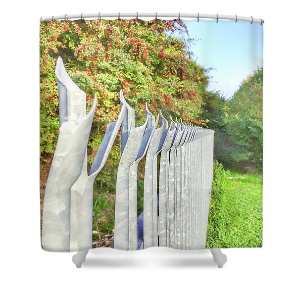 A Metal Fence Shower Curtain
