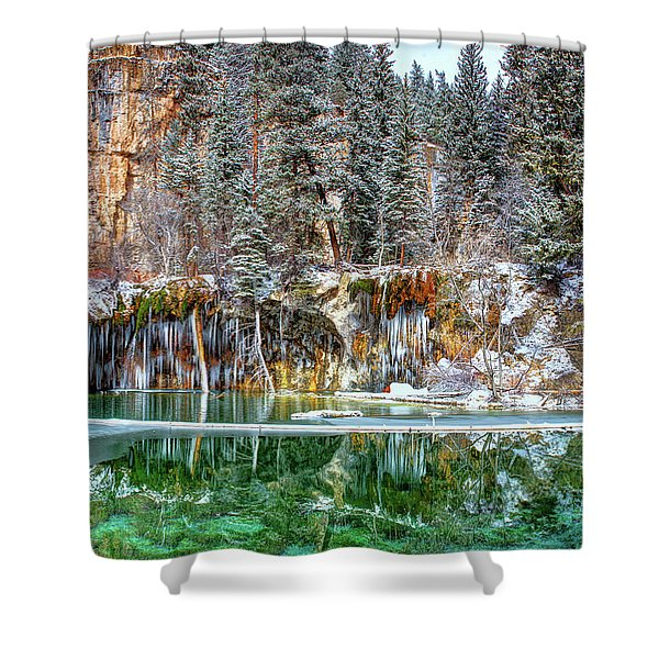 Olena Art Serene Chill Hanging Lake Photograph The Gem Of Glenwood Canyon Colorado Shower Curtain