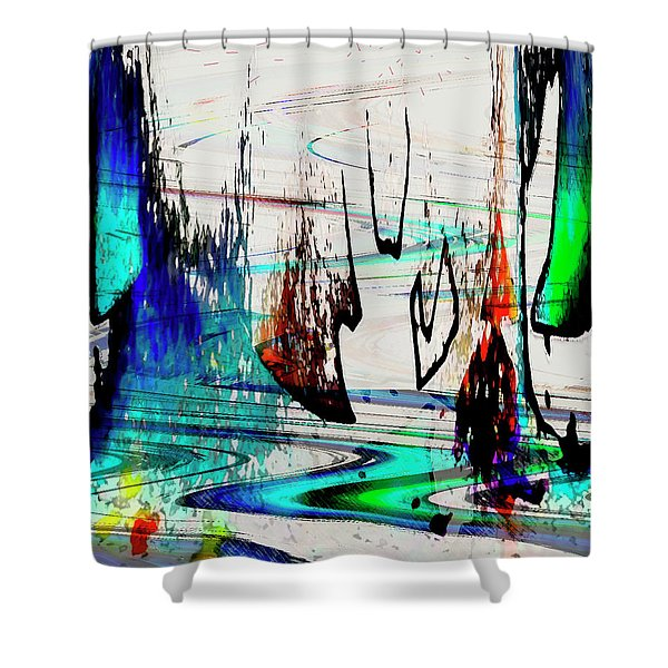 Shower Curtain featuring the painting Abstract 1001 by Gerlinde Keating - Galleria GK Keating Associates Inc