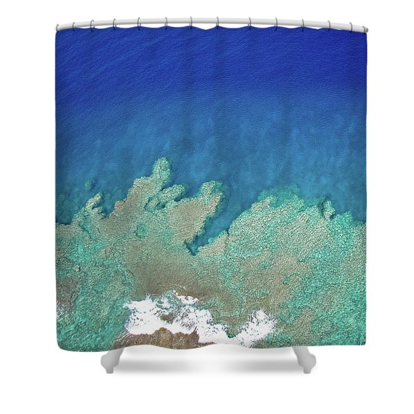 Abstract Aerial Reef Shower Curtain