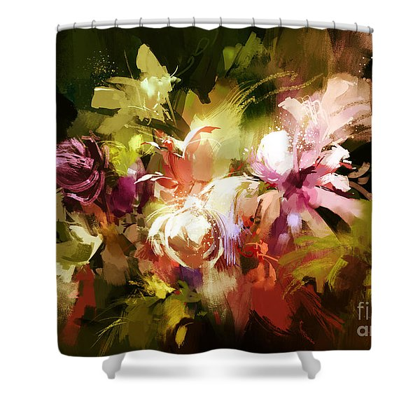 Shower Curtain featuring the painting Abstract Flowers by Tithi Luadthong