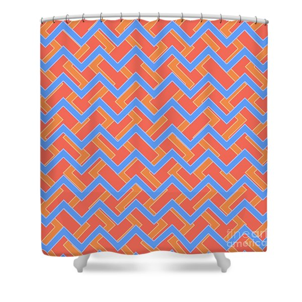 Abstract Orange, Red And Cyan Pattern For Home Decoration Shower Curtain