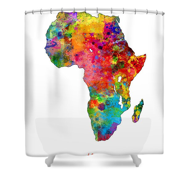 Africa Watercolor Map Shower Curtain