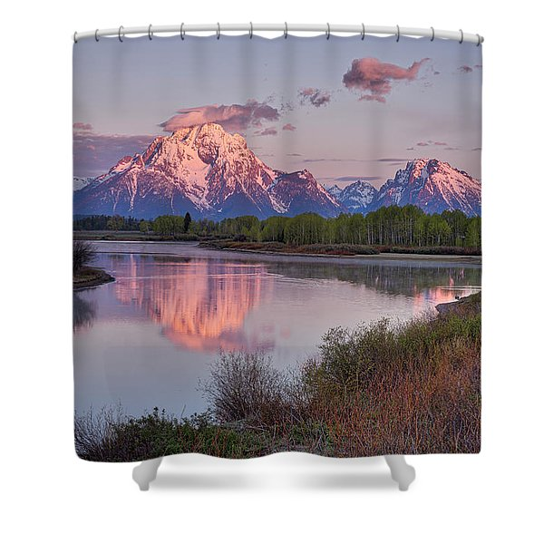 Alpenglow At Oxbow Bend Shower Curtain