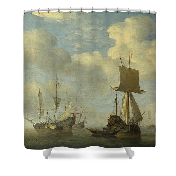 An English Vessel And Dutch Ships Becalmed Shower Curtain