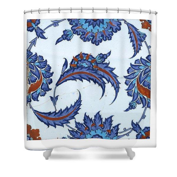 An Iznik Polychrome Pottery Tile Shower Curtain