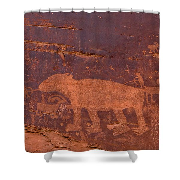 Ancient Native American Petroglyphs On A Canyon Wall Near Moab. Shower Curtain
