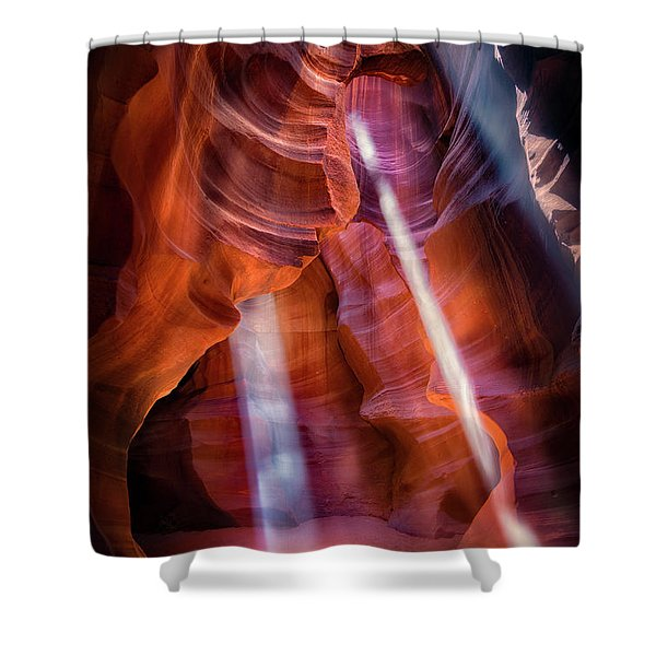 Antelope Canyon's Many Beams Shower Curtain